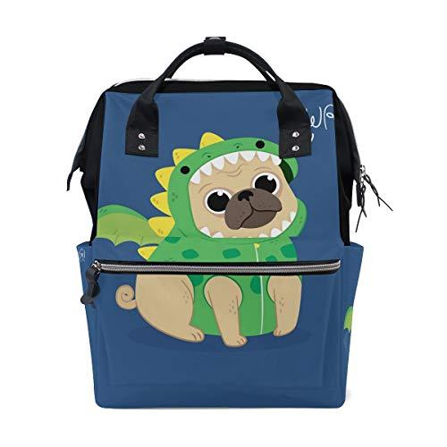 (Alinlo Wickeltasche mit lustigem Mops-Welpen, Dinosaurier, Wickeltasche, Rucksack mit großem Fassungsvermögen, multifunktionale Kinderwagen-Gurte, Mumien-Tasche, für Reisen und Babypflege)