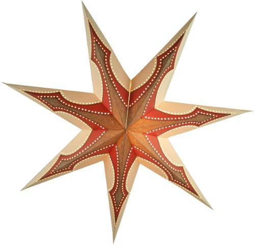 Faltbarer Advents Leucht Stern aus Papier, Weihnachtsstern Atlantis / Papierstern 7 Zacken - Rot Decke Werfen Muster