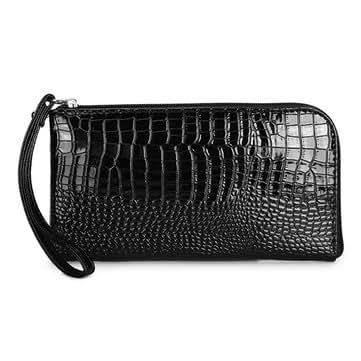 Women Crocodile Pattern Long Wallet Elegant Shining Zipper Card Holder Coin Bags (Black)