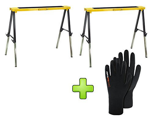 2x Brennenstuhl Falt-Arbeitsbock MB 120 KH 1444610 + 1 Paar Polyester, Strickhandschuh mit Latex - Falt -