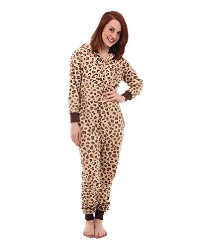 Schlafoverall, Schlafanzug Damen, Hausanzug, Einteiler, Jumpsuit, Pyjama, Onesie Damen Herren, Erwachsenenstrampler WILD FUNZEE, körpergrößenabhängige Unisexgrößen XS-XL (Petite (XS))