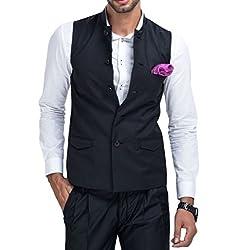 Mr Buttons Mens Slim Fit Nehru Jacket NJA024-S_Black_Small