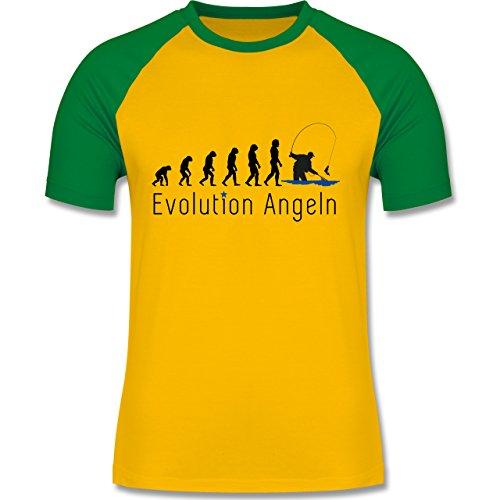 Evolution - Angeln Evolution - zweifarbiges Baseballshirt für Männer Gelb/Grün