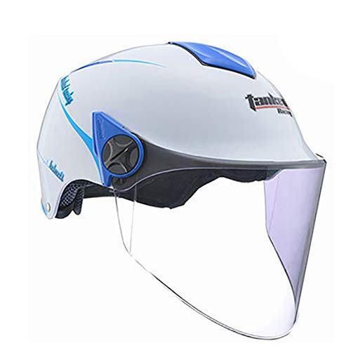 CX ECO Motorradhalbhelme Old School Motorradhelm Cruiser Touring Helm DOT-Zertifizierung Leichte, atmungsaktive Mopedschutzkappen,White,L