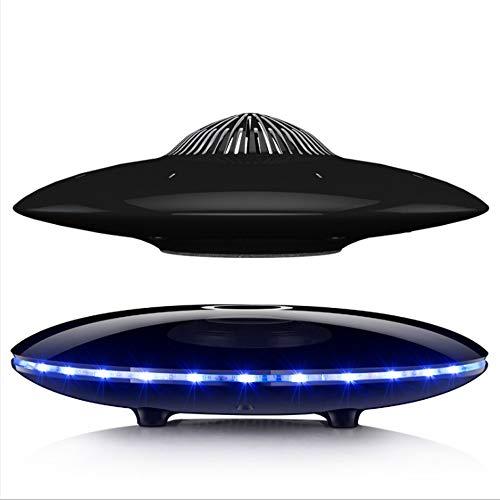 AJH Magnetschwebesprecher UFO Wireless Bluetooth-Lautsprecher, Kabelloses Laden, Power-Display, Touch-Taste, Buntes LED-Licht Mit Farbverlauf, Kreative High-End-Geschenke (Schwarz) -