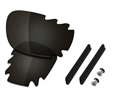 Saucer Premium Linsen & Gummi Kits für Oakley Jawbone Vented Racing Jacket, Schwarz (High Defense - Carbon Black Polarized), Einheitsgröße