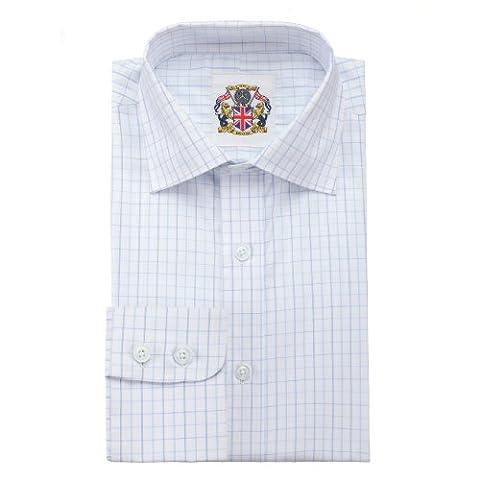 Chemise à manches longues classique Manchettes simples ou doubles Moka, gris ou bleu. Facile d'entretien, prix attractif et emballage écologique Bleu Carreaux Bleu