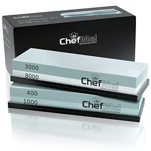 ChefMe! Schleifstein Set 4-in-1 mit deutscher Anleitung 400/1000/3000/8000 - Wetzstein zum Messer schärfen mit rutschfester Unterlage - Kochmesser Schleifstein