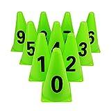 Conos de Entrenamiento de fútbol Cono de número de Cono Deportivo Cono de tráfico para niños Gimnasio en casa Fútbol,   Paquete de 10