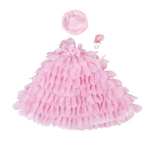 PIXNOR vestidos para Barbie-Encaje Floral Vestido con Sombrero y flores rosa rosa Talla:27 * 24 cm