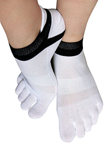 1 Paar Zehensocken Sneakersocken Zehen Fingersocken Toe Socks Sport Yoga Pilates Socken Damen Herren (43-46, 5 Paar weiß)
