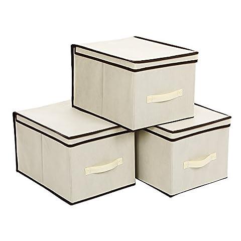 Songmics lot de 3 boîtes de rangement pliable housse beige avec bordure couleur café avec couvercle et poignée 40x30x25cm RFB03M
