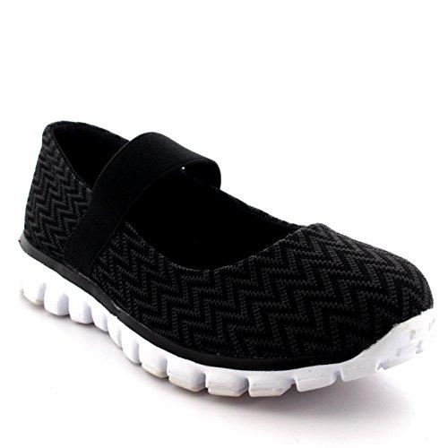 Mujer Corriendo Caminando Bajo Top Deportes Trabajo Zapatos Mary Jane Entrenadores - Negro/Blanco - UK4/EU37 - BS0058