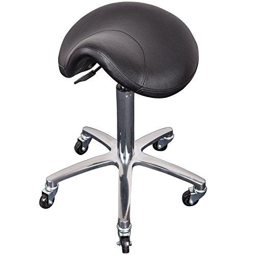 Arbeitshocker mit Sattelsitz MILEY, höhenverstellbar 55 bis 75 cm, 360° drehbar, 5 Rollen, schwarz