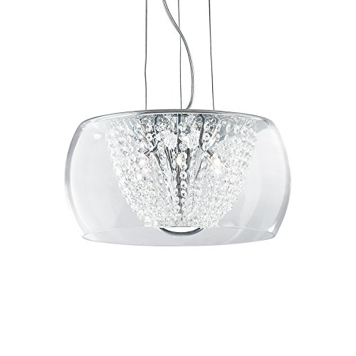 L'Aquila Design Arredamenti Ideal Lux Lustre audi-61 Verre et Cristal Suspension chromé 8 lumières SP8