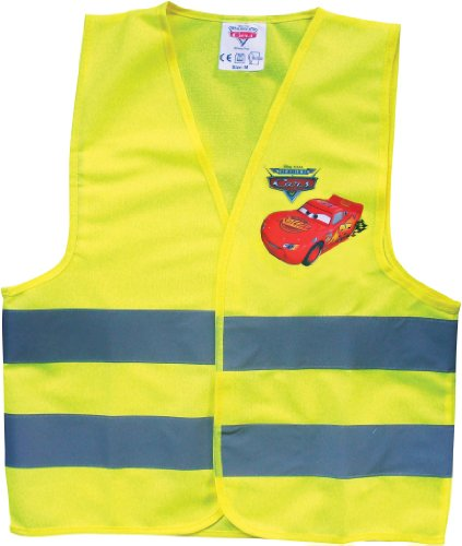 Disney Cars 25937 Warnweste für Kinder - Gelbe Sicherheitsweste mit reflektierenden Streifen mit Lightning McQueen, Größe: Medium - für Kids bis 9 Jahre