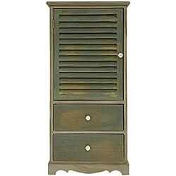 Rebecca Mobili Mueble armario vintage, mueble de baño 2 cajones 1 puerta, madera de paulownia, marrón verde, cuarto de baño - Medidas: 90 x 42 x 32 cm ( AxANxF) - Art. RE4342