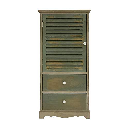 Rebecca Mobili Mueble Armario Vintage, Mueble de baño 2 cajones 1 Puerta, Madera de Paulownia, marrón Verde, Cuarto de baño - Medidas: 90 x 42 x 32 cm (AxANxF) - Art. RE4342