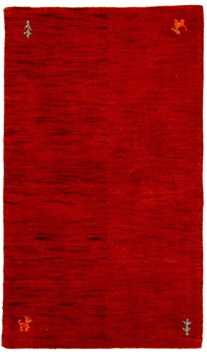 Carpetfine: tappeto gabbeh loom - 91x156 cm rosso - tessuto a mano - astratto