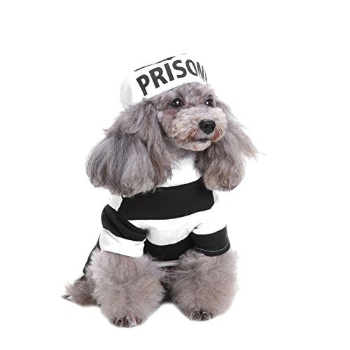 Kiao Haustier Hund Gefängnis Uniform Halloween Dress Up Kleidung Kleidung