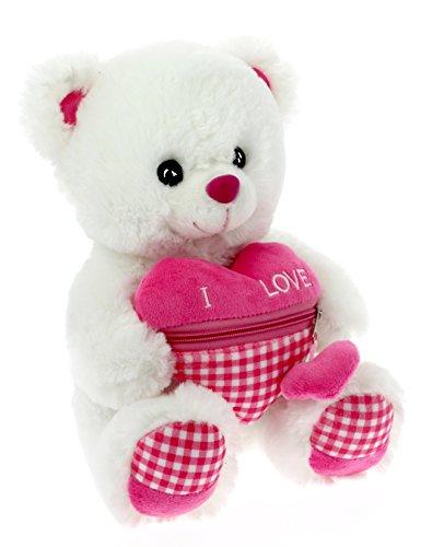 Peluche orsetto san valentino 20 cm con cuore con tasca
