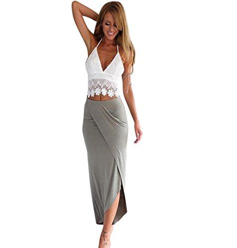 Asymmetrische Baumwolle Rock (ZEZKT Frauen Clubwear Blues und Rock Sommer Cocktailkleid Ärmelloses Spitze Oberteil + Lang Rock Asymmetrisch Kleid Strandkleid Abendkleid Beiläufiges Kurzes Lässig Casual Crop Top (S, Grau))