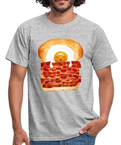 Spreadshirt Schlafendes Spiegelei Speck Toast Männer T-Shirt, L, Grau meliert -