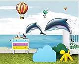 YUANLINGWEI Benutzerdefinierte Wandbild Tapete Cartoon Heißluftballon Delphin Tier Muster Kinderzimmer Wand Dekoration Wandbild Tapete,270Cm (H) X 350Cm (W)