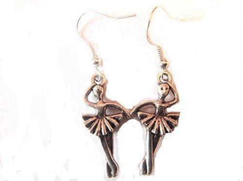 New Schöne, antik, Tibetisches Silber Ballerina Ohrringe, auf 925Prägung Sterling Silber Haken in einer schönen gratis Organza Geschenkbeutel mit) Dunkelviolett (Ballerina Organza)