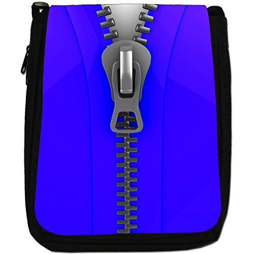 Zip It Up/Down-Borsa a tracolla in tela, colore: nero, taglia: M Nero (Close Up Of Blue Zip)