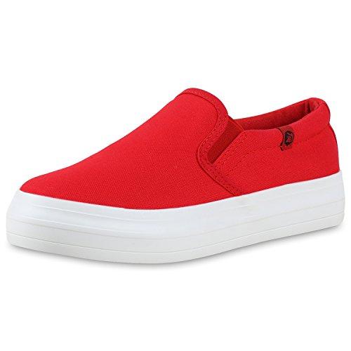 Komfortable Damen Sneakers | Bequeme Slipper| Funkelnde Glitzerapplikationen | Modische Plateausohle | Gr. 36-41 Rot Weiss Plateau