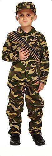 Fancy Me Jungen Kinder Armee Militär Tarnung Soldaten Uniform Kostüm Kleid Outfit - Grün, Grün, 4-6 ()