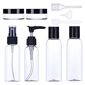 9 Pieces Travel Bottle Set Air Travel Bottles Toiletries Liquid Containers for Cosmetic Make-up (Black)