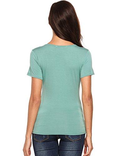 Beyove Damen Sexy V-Ausschnitt Wickelshirt Kurzarm/Langarm Slim Fit Shirt Bluse Obertail mit Rüschen Blau