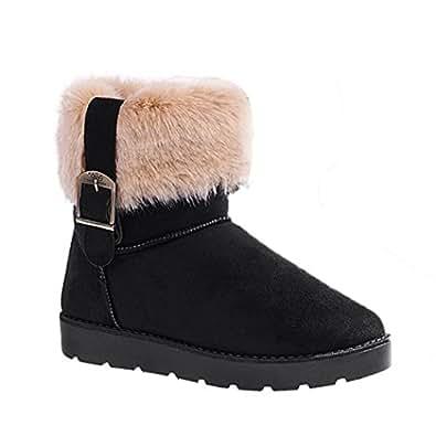 Zeagoo Women Faux Suede Fur Warm Snow Shoes Flat Ankle