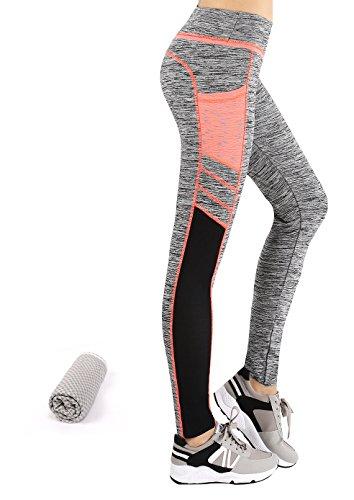 Munvot Tailored Geschenke Tummy Control Yoga Pants Sport Leggings Hohe Taille Fitnesshose Blickdichte Leggings Sporthose Strech Sweathose Hellorange/Grua S