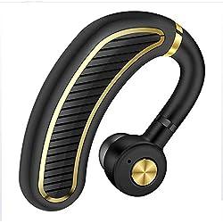 WERNG Oreillette Bluetooth Suspendue Oreille Business Sports Wireless Écouteurs Étanches Résistants À La Transpiration Oreille Suspendue Stéréo Écouteurs Mains Libres Unilatérale,BlackGold