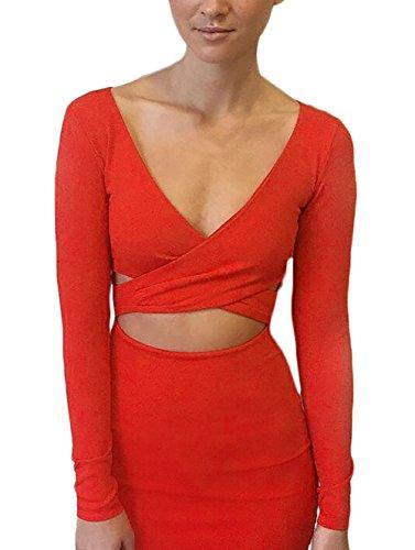 Damen Abiballkleid Knielang Langarm Figurbetont Elegant Partykleid Ballkleid Orange