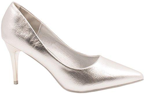 Elara Damen Pumps Spitze High Heels Stilettos Lack| chunkyrayan Silber Fashion