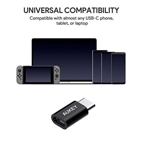 AUKEY USB C Adapter auf Micro USB [3 Stücke] für USB Type C Geräte für MacBook 2015, Google Chromebook, Nexus 5X / 6P, Nokia N1, OnePlus 2 / 3, usw.