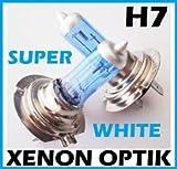 INION 2x Stück H7 12V 55W Halogen BLAU beschichtet - Birne in Xenon Look - Licht - Leuchten - Lampe Blau-Weiß -PX26D Xenon Optik GAS Halogen Lampen Glühlampen Super White Birnen Autolampen