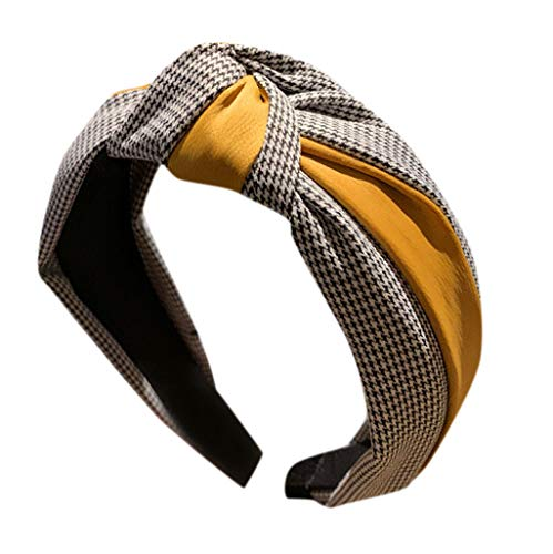 CANDLLY Stirnband Damen, Kopfbedeckung Zubehör Frauen Gestreiftes Karierten Leopard Bogen Stirnbands Haarband Haargurt Zubehörs Kopfschmuck (Gelb,One size)