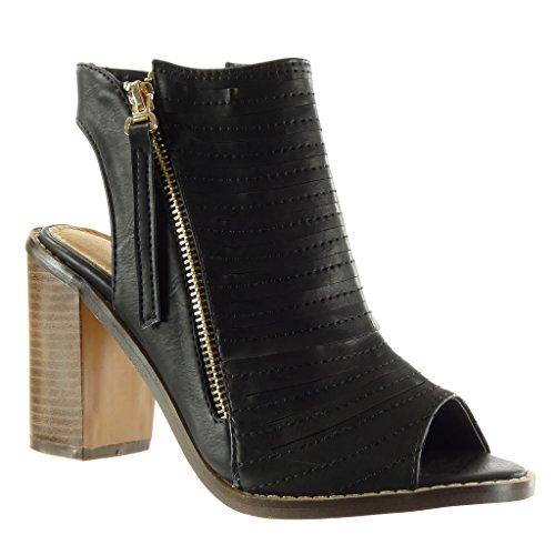 Angkorly - Damen Schuhe Sandalen Stiefeletten - Peep-Toe - Offen - Low Boots - Multi-Zaum - Fertig Steppnähte - Reißverschluss Blockabsatz high Heel 9.5 cm - Schwarz M107 T 38