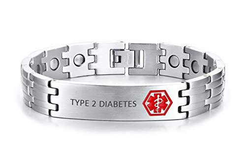 XUANPAI Type 2 Diabetes Edelstahl Magnetfeldtherapie Gesundheit Medical Alert ID Tag Notfall Armband für Männer (Medical Alert)