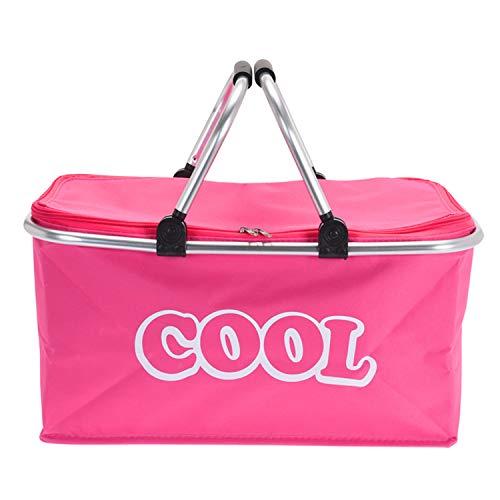 ToCi Thermo-Einkaufskorb Alu faltbar, Kühlkorb, Picknickkorb isoliert, 35 Liter Kühltasche, Pink, 48x28x25 cm