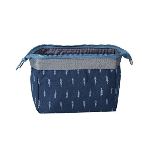NOVAGO® Petite Trousse de toilette Compacte pliable, trousse maquillage, pochette cosmétique style japonais (Bleu)