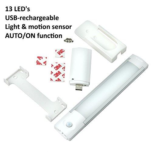 Gadgy ® Lampara Armario USB Recargable Sensor Movimiento | Magnético Barra Luz Noche 13 LED | Accu Inalambrica Apagado Automático 28 cm. | Guardarropa Cocina
