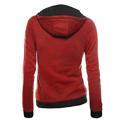 Femme Sweatshirt Chandails Chemise - Juleya Femmes Manteau Chaud Sweat-Shirts en Coton Vestes Pull Capuche Sweat Capuche Sweat-shirt à Capuche Manches Longues Zip Up 7 Couleurs S M L XXL XXXL red