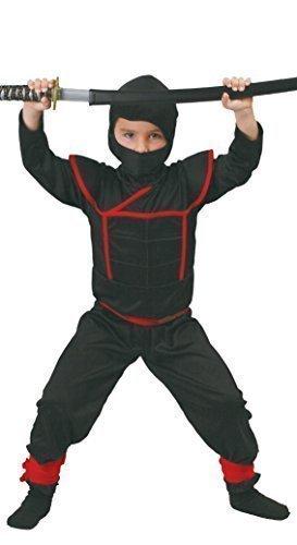 Jungen Ninja Krieger Schwarz/Rot Samurai Buch Tag Kostüm Verkleidung Outfit - Schwarz, 116