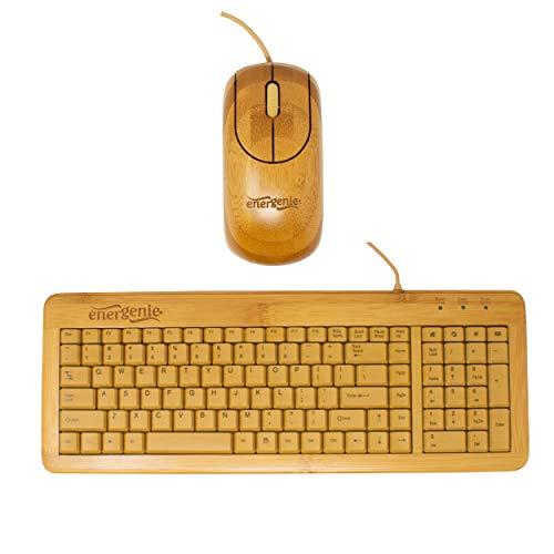 I-CHOOSE LIMITED Ratón y Teclado de Escritorio USB de Bambú con Cable/Diseño de Teclado QWERTY/Producción Ecológica